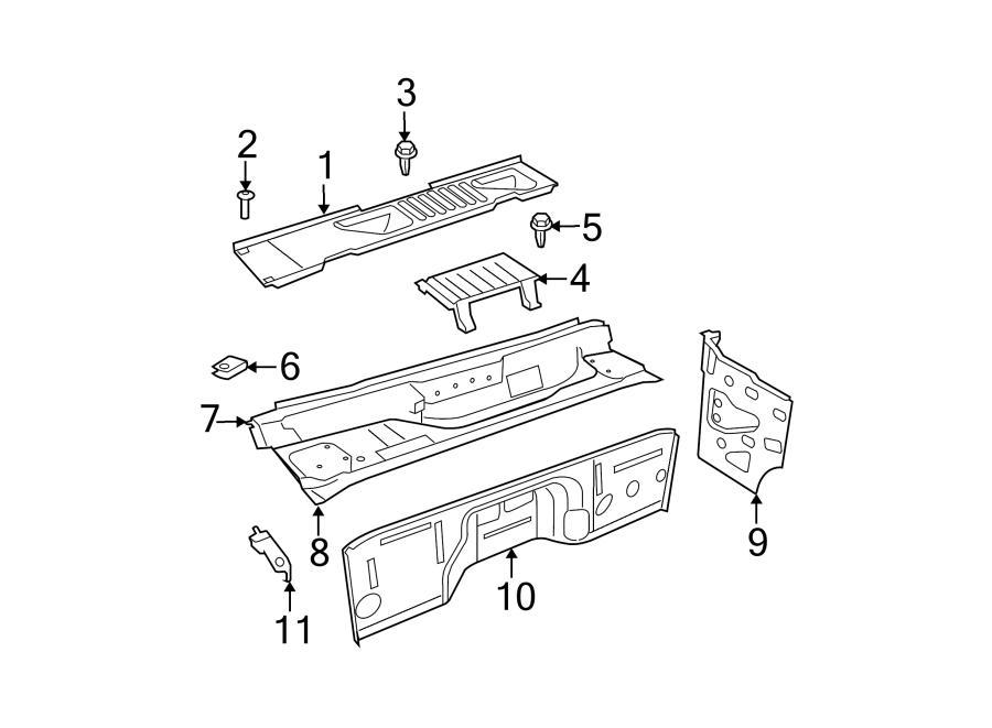 Jeep Wrangler Firewall (Lower). Dash. Panel. Crossmember