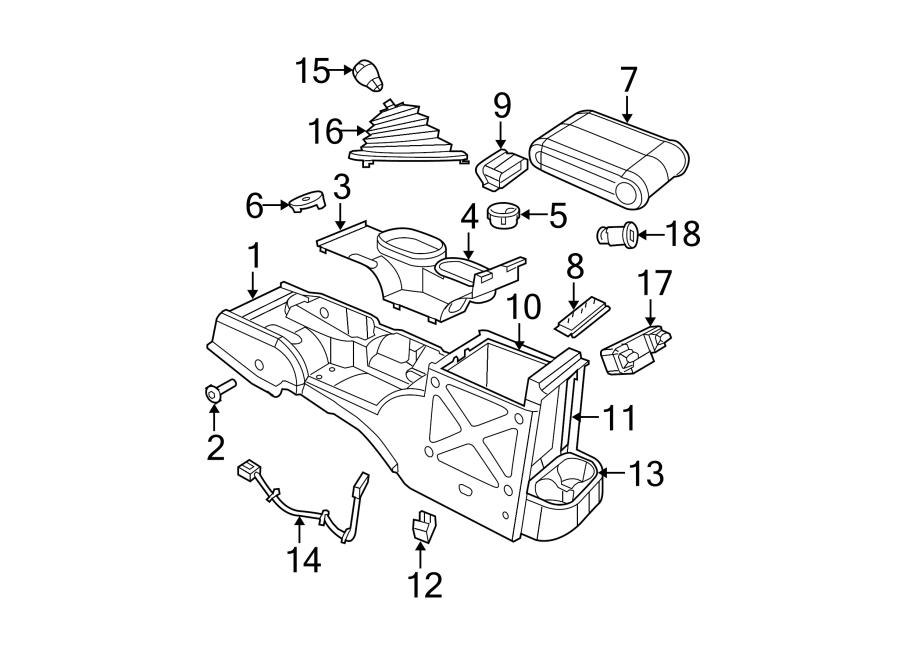 Jeep Wrangler Center Console. FULL SIZE, 2007-10, manual