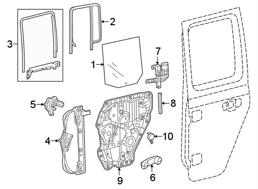 Jeep Wrangler Window Regulator Guide. Left, Rear