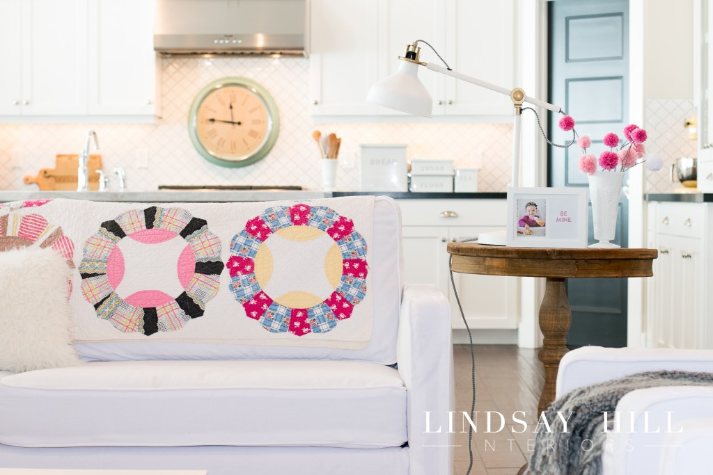 simple and easy valentine's day decor pom pom garland and glowers