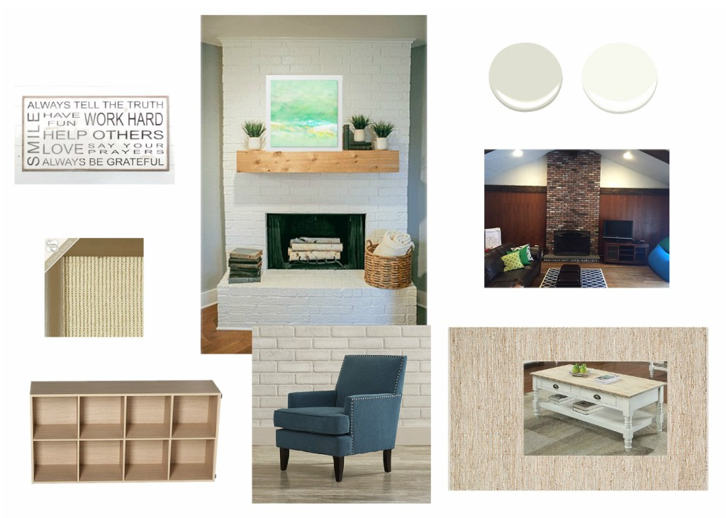 family room design board bright new life for tired brown room