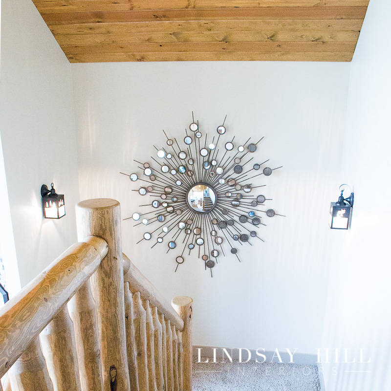 bear llake cabin stairwell with mirror