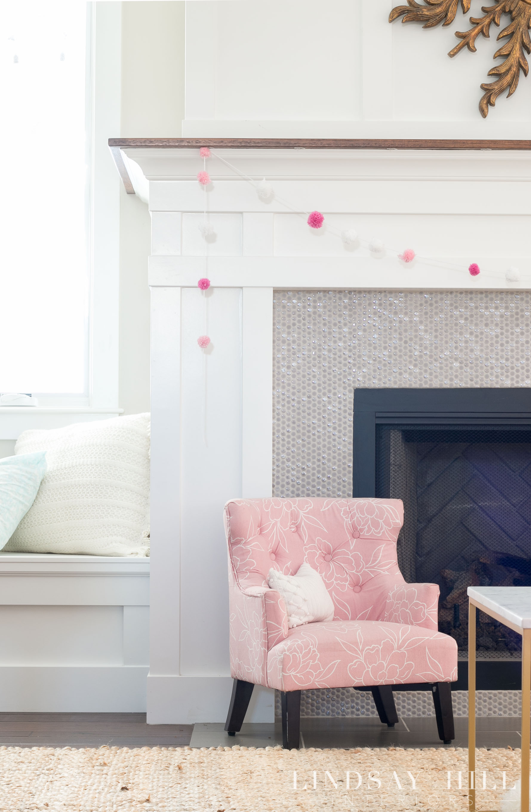 lindsay hill interiors simple valentine's day decor fireplace