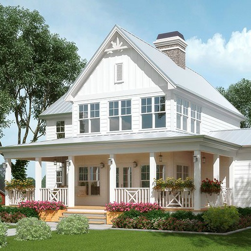 Exploring farmhouse style home exteriors lindsay hill for Modern farmhouse cost to build