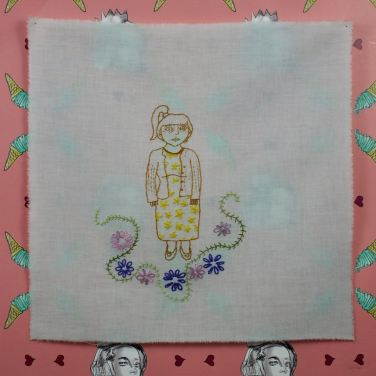 Lindsay Joy, Attempts At Appearing Credible, stitched selfies, embroidery on cotton, 2014