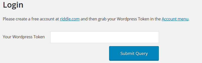 Riddle WordPress Token