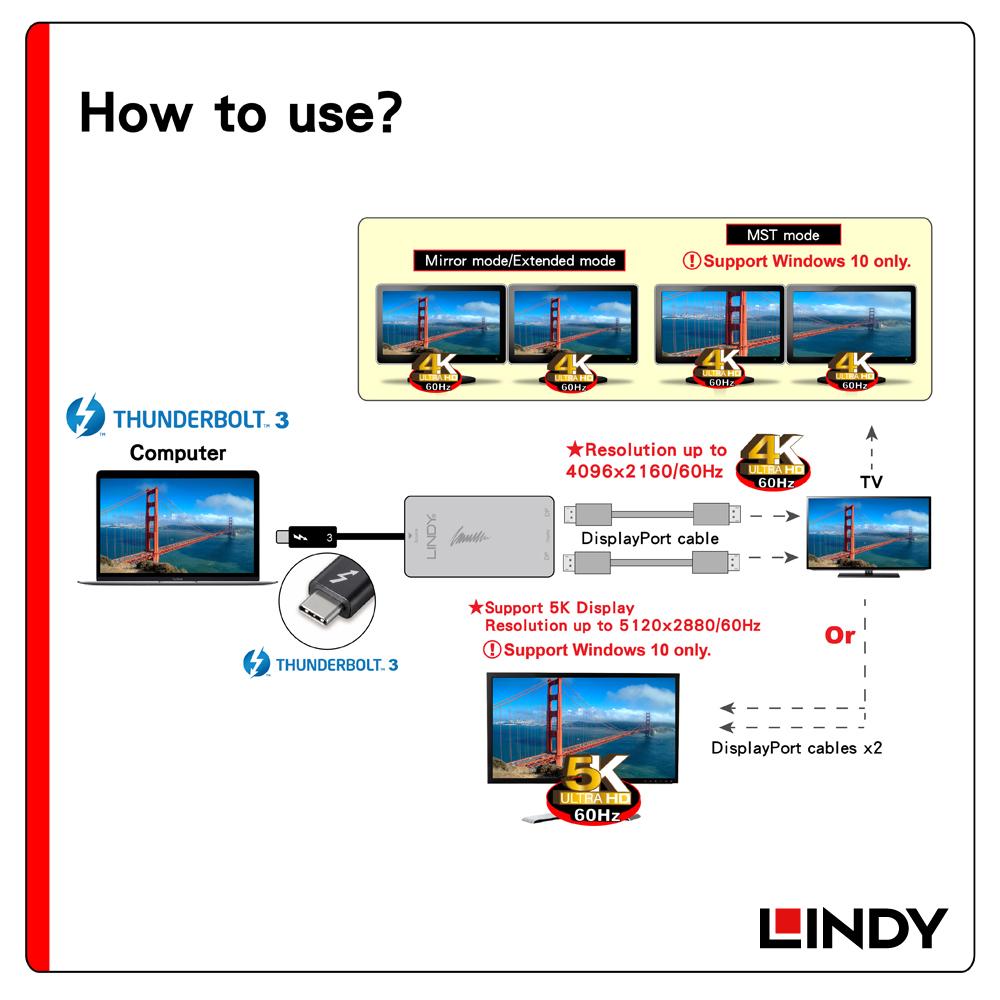 43901 - Thunderbolt 3 to雙DisplayPort 4K/60Hz螢幕輸出轉接器