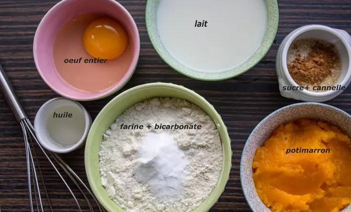 Ingrédients pour les pancakes au potimarron