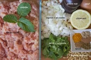 Ingrédients pour boulettes de poulet orientaleds