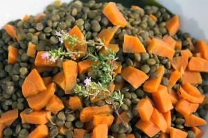 Cuisson des lentilles et carottes pour le parmentier