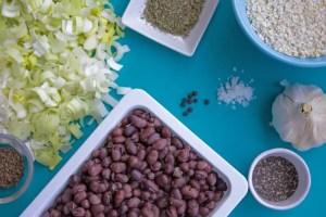 ingrédients pour les burgers aux Azukis et aux poireaux
