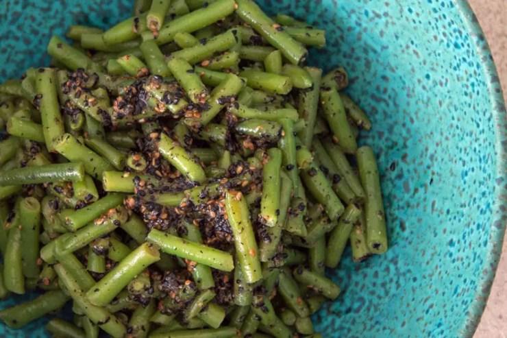 Salade de haricots verts sauce au sésame