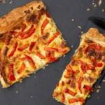 Tarte feuilletée poivrons poireaux et mozzarelle