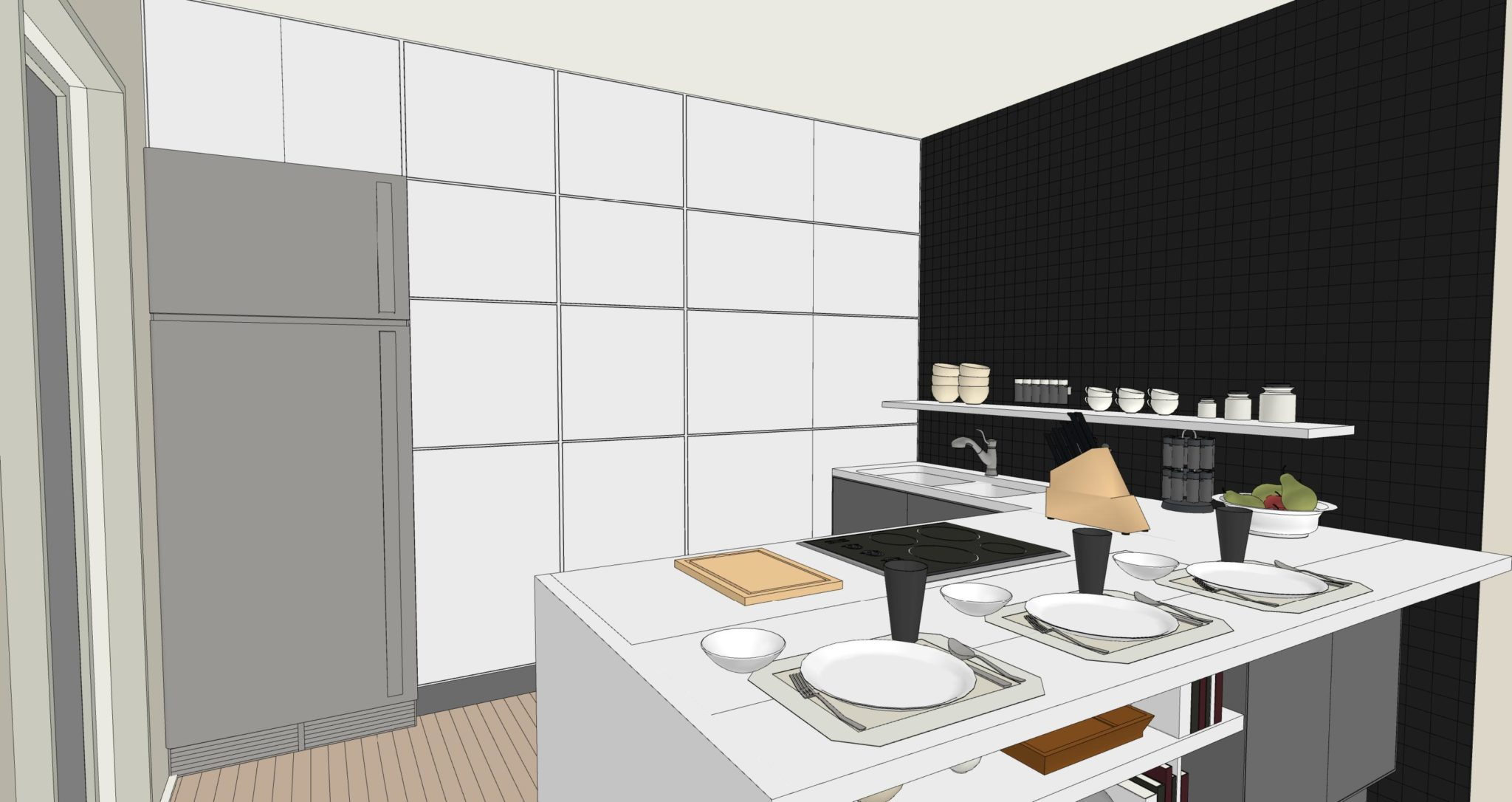 Una cucina senza pensili lineatre arredamenti for Accessori pensili cucina