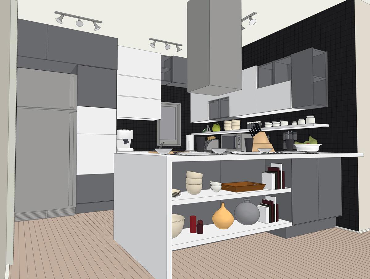 Una cucina senza pensili lineatre arredamenti - Cucine componibili senza frigo ...