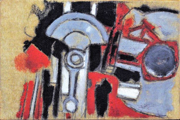 rid. Mario Schifano, 1960, T.M. su tela, cm 20x30 -
