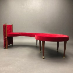 Three Seat Red Velvet Bench Jeannot Cerutti Sawaya & Moroni