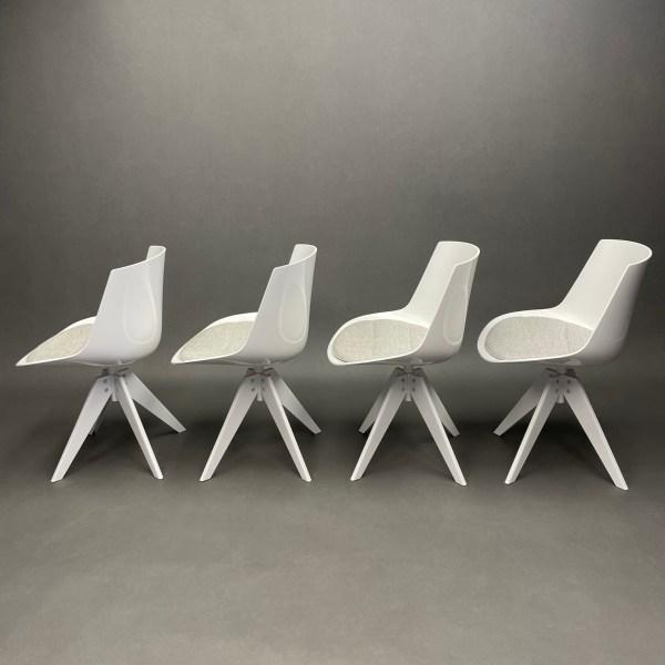 Lot de 4 chaises Flow chair pivotant Jean-Marie Massaud MDF Italia