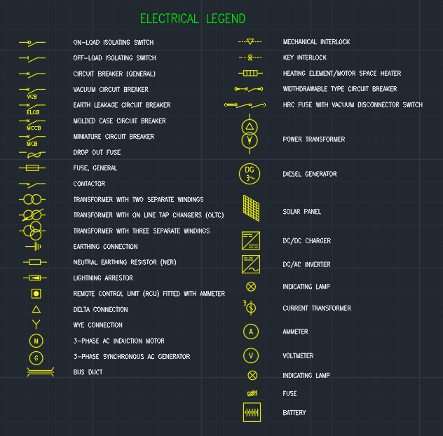 Electrical Legend Autocad Free Cad Block Symbols And