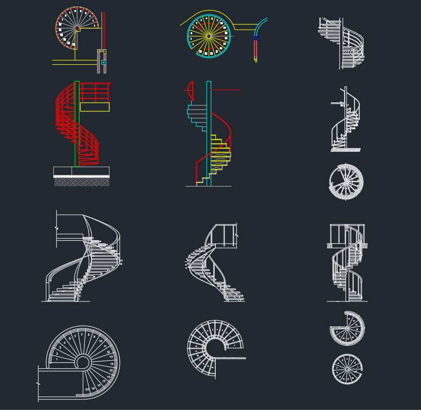 Spiral Stairs CAD Blocks | | CAD Block And Typical Drawing