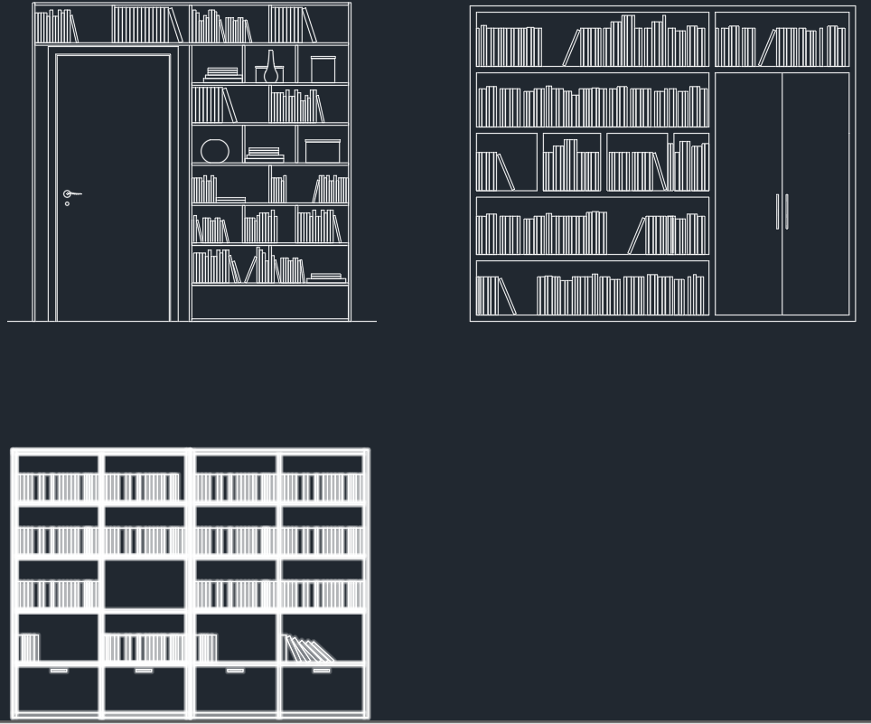 Bookshelves Free Cad Block And Autocad Drawing