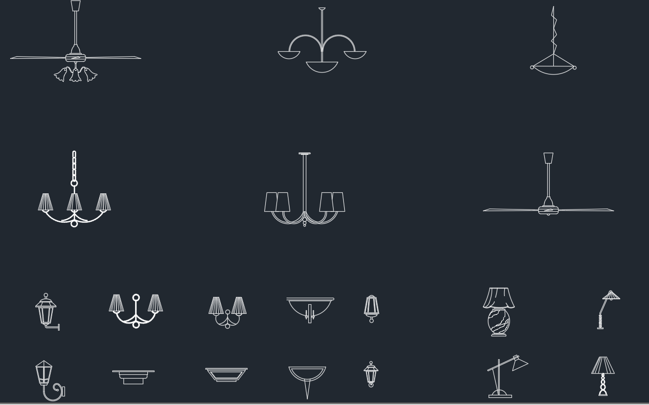 chandeliers – AutoCAD Free CAD Block Symbol And CAD Drawing