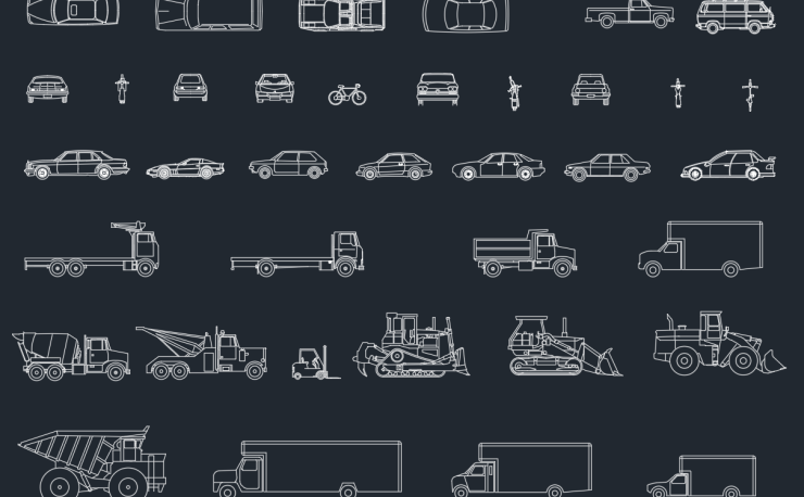 Transportation Car Vehicles And Lorries Autocad Free