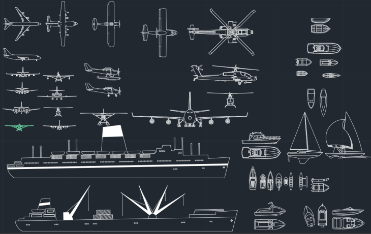 Airplanes Ships and Boats CAD Blocks