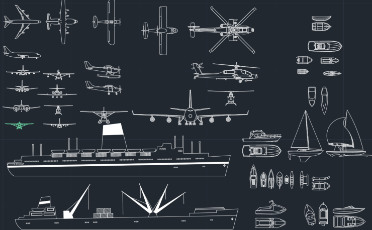 Airplanes Ships and Boats CAD Blocks