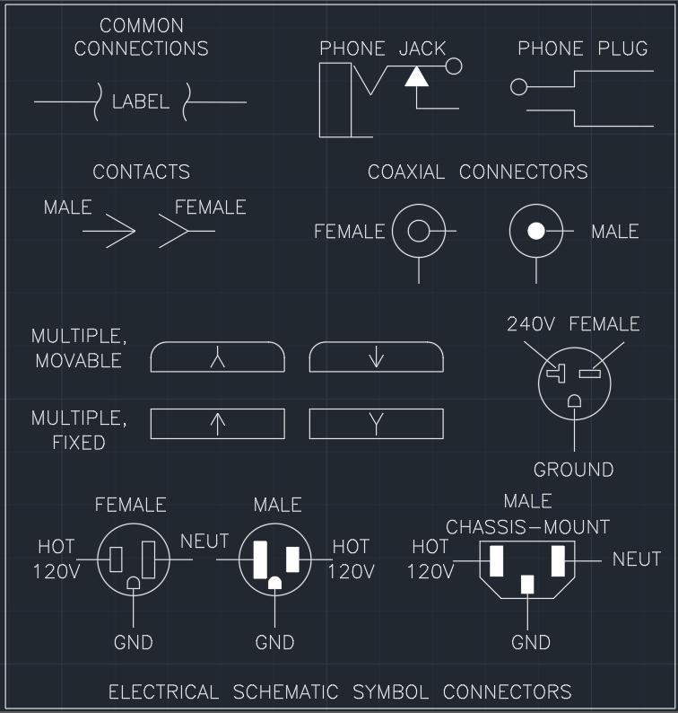 electrical schematic symbol connectors autocad free cad block rh linecad com Motor Schematic Symbol Reading Wiring Diagram Symbols