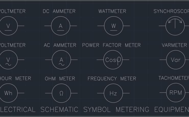 Ac Voltmeter Autocad Free Cad Block Symbols And Cad Drawing