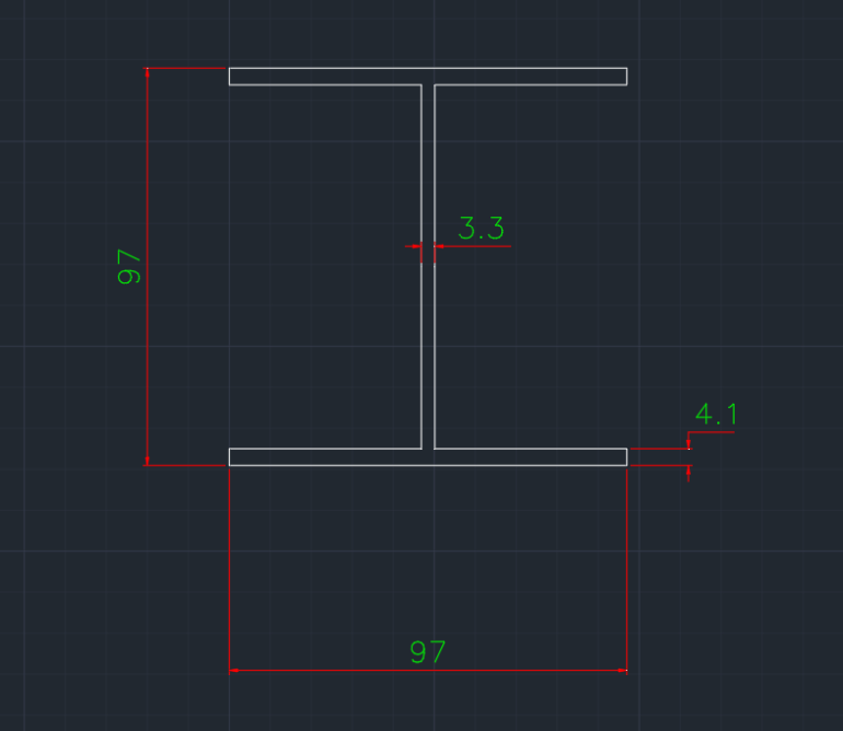 Wide Flange Canadian (M) In dwg file format for AutoCAD and other 2D Software