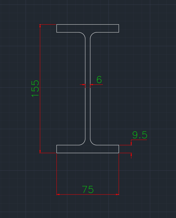 Wide Flange Australian (UB) In dwg file format for AutoCAD and other 2D Software