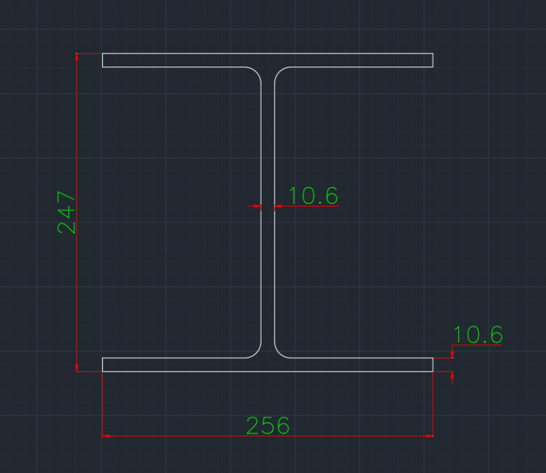 Wide Flange Australian (UBP) In dwg file format for AutoCAD and other 2D Software