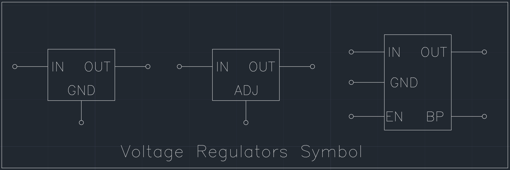 Voltage Regulators Symbol | | CAD Block And Typical Drawing