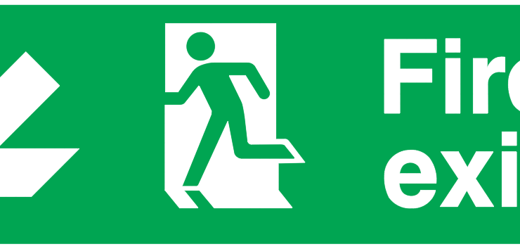 Arrow Down Left Running Man Left Fire Exit