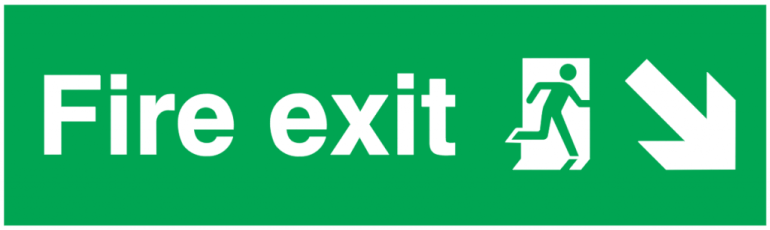 fire exit running man right arrow down right