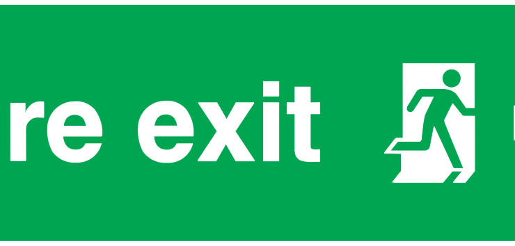 fire exit running man right arrow down sign