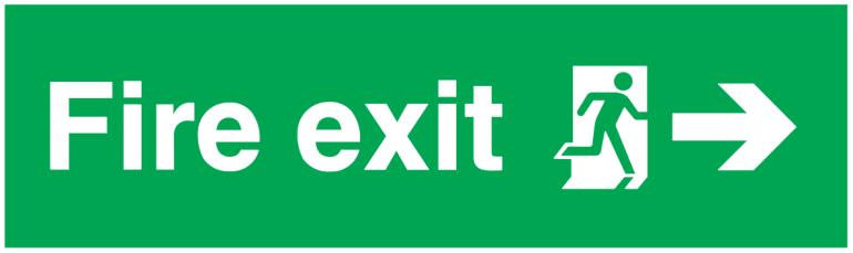 fire exit running man right arrow right sign