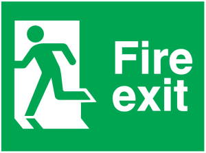 running man left fire exit sign