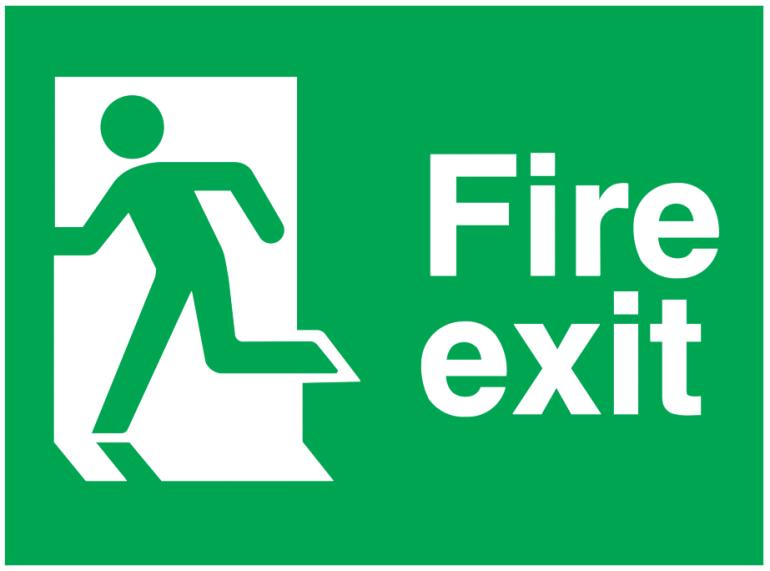running man left fire exit sign