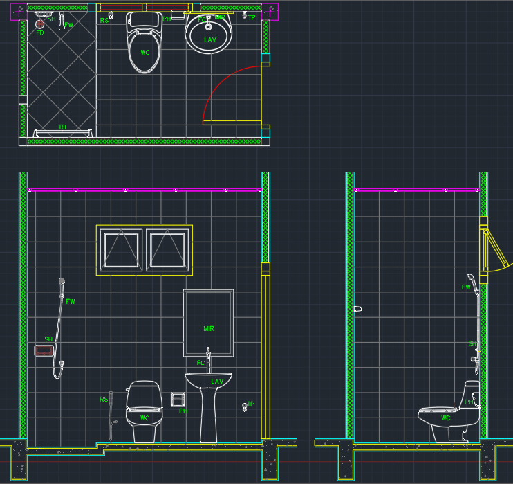 Bathroom Layout AutoCAD Free CAD Block Symbol And CAD Drawing - Bathroom cad blocks