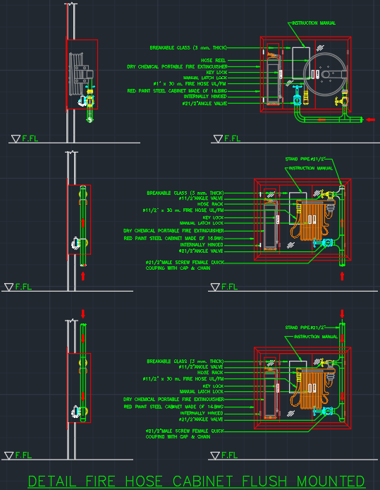 Fire Hose Cabinet Flush Mounted Cad Block And Typical