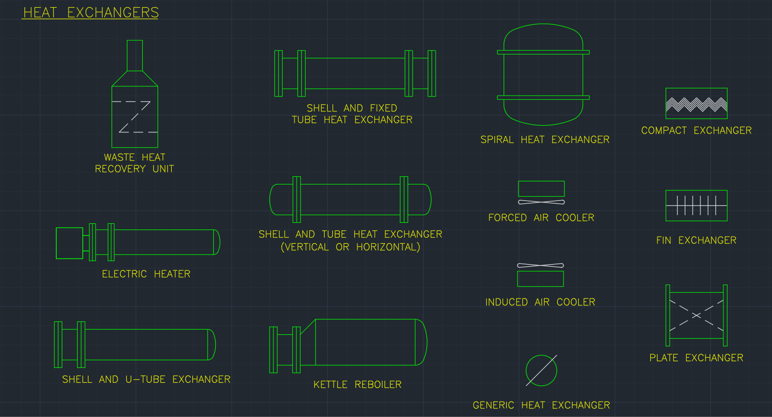Heat Exchangers Autocad Free Cad Block Symbols And Drawing Piping Diagram