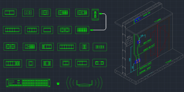 Floor Front Elevation Network : Sockets switches cad blocks autocad free block
