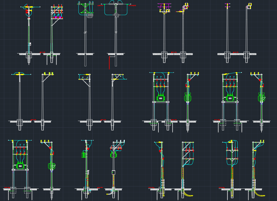 Electric Pole Autocad Free Cad Block Symbol And Cad Drawing