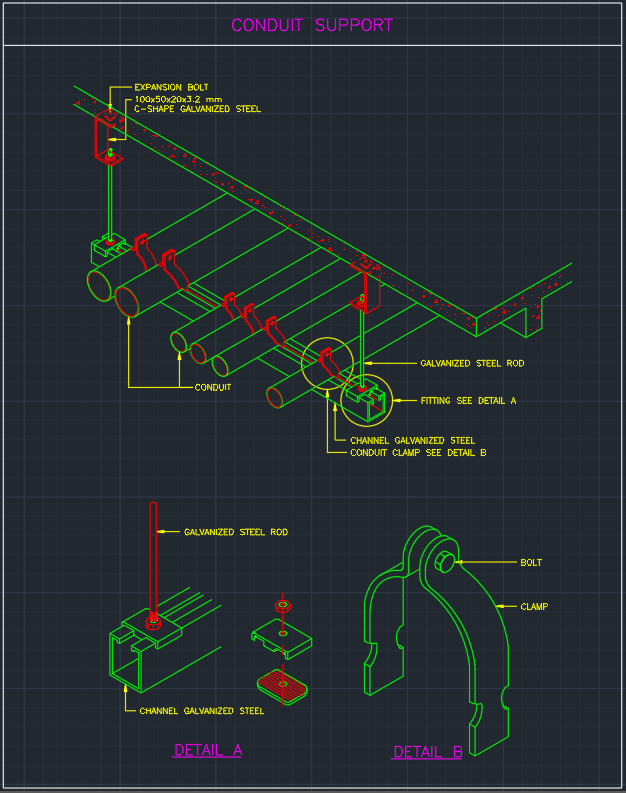 Conduit Support Autocad Free Cad Block Symbol And Cad