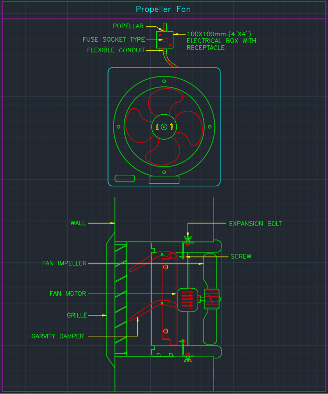 Propeller Fan Autocad Free Cad Block Symbol And Cad