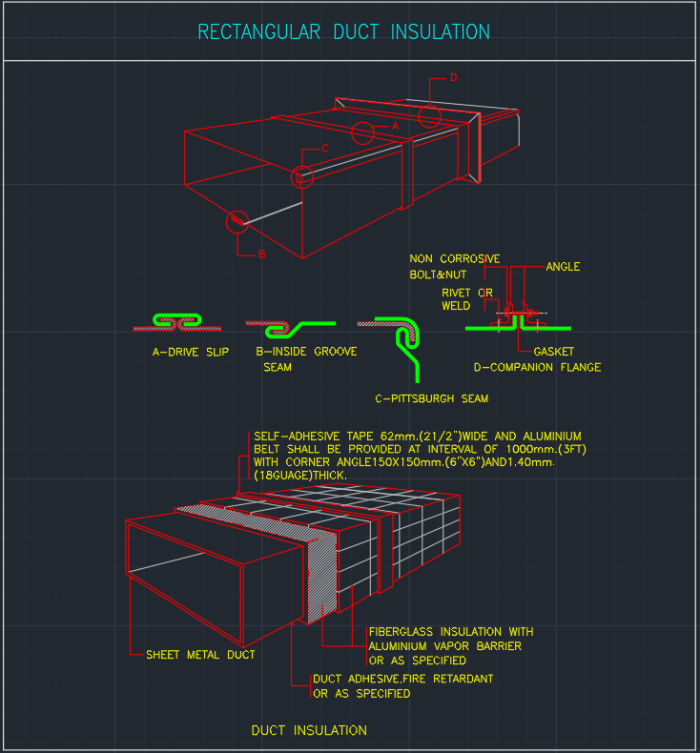 Rectangular Duct Insulation Cad Block And Typical