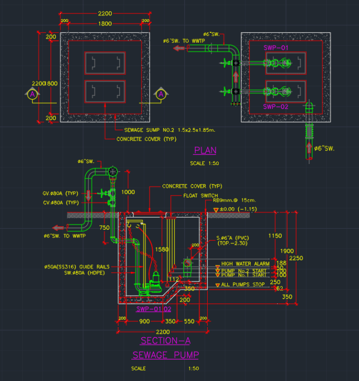 Hvac Electrical Wiring Diagrams Sewage Pump Cad Block And Typical Drawing For Designers